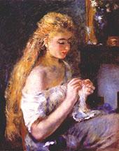 Woman Crocheting By Pierre Auguste Renoir