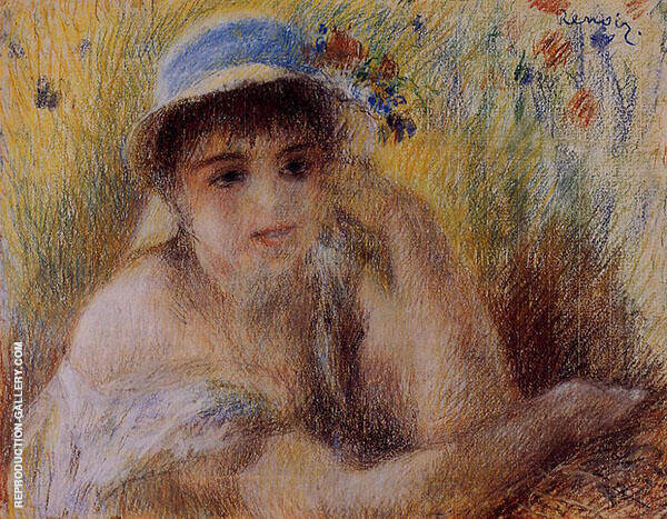 Woman in a Straw Hat 1880 Painting By Pierre Auguste Renoir