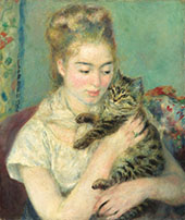 Woman with a Cat c1875 By Pierre Auguste Renoir