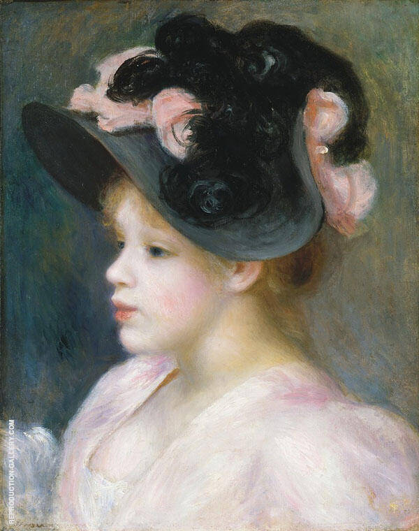 Young Girl in a Pink and Black Hat 1890 Painting By Pierre Auguste Renoir