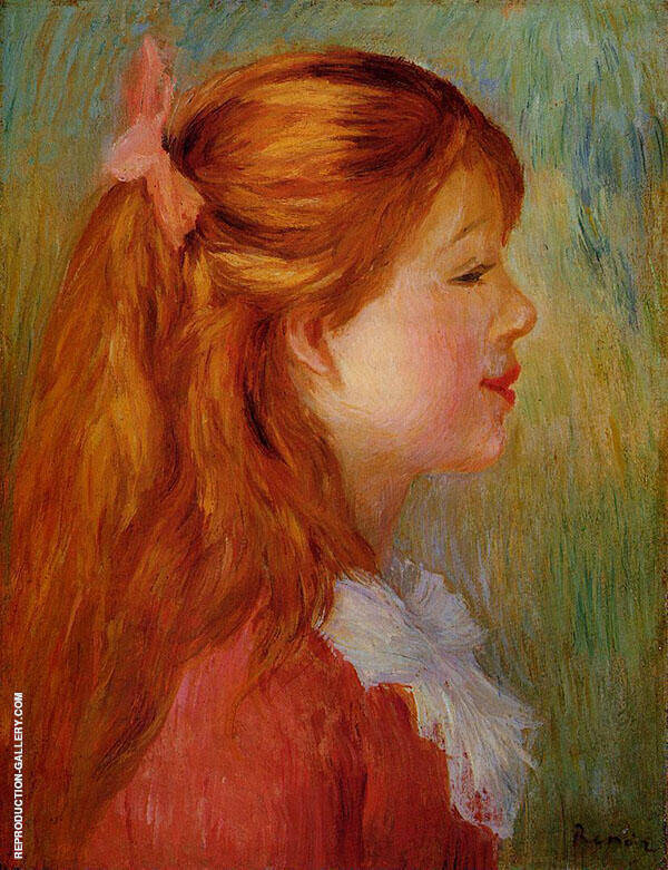 Young Girl with Long Hair in Profile 1890 By Pierre Auguste Renoir