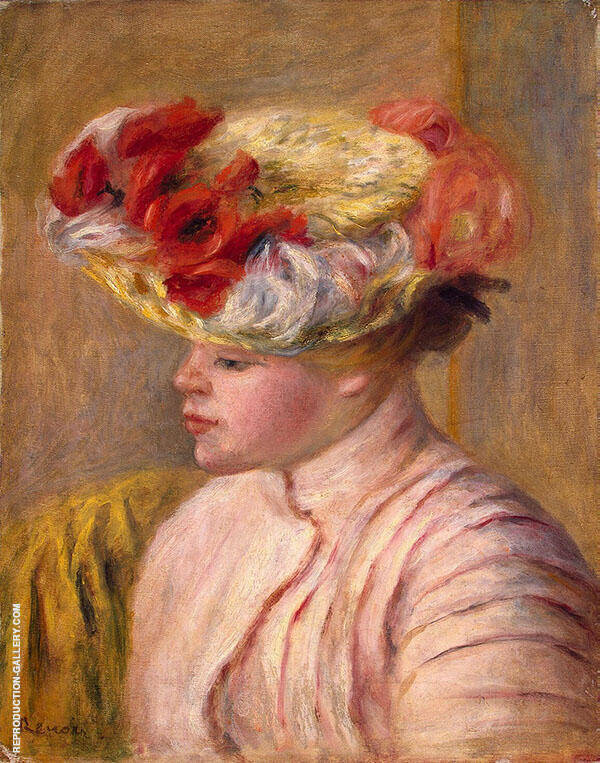 Young Woman in a Flowered Hat Painting By Pierre Auguste Renoir