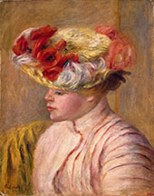 Young Woman in a Flowered Hat By Pierre Auguste Renoir