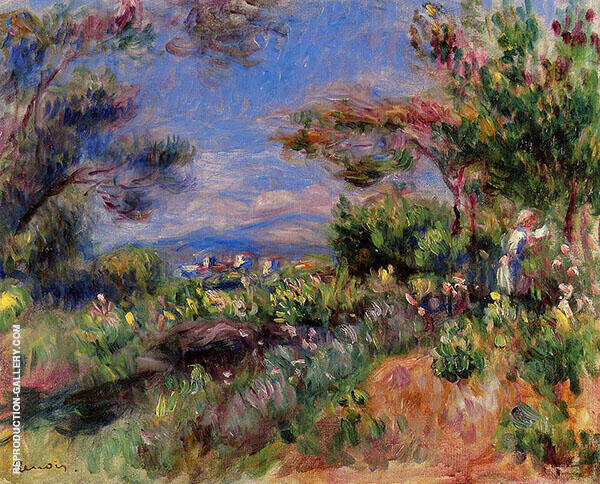 Young Woman in a Landscape Cagnes 1905 Painting By Pierre Auguste Renoir