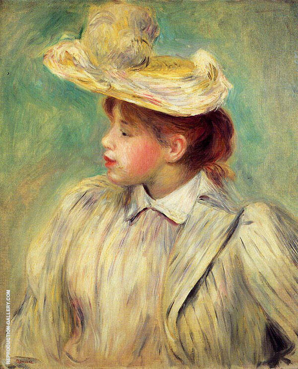 Young Woman in a Straw Hat By Pierre Auguste Renoir