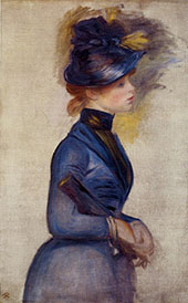 Young Woman in Bright Blue at The Conservatory 1877 By Pierre Auguste Renoir