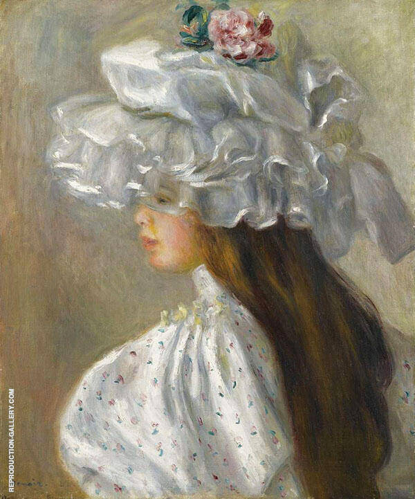 Young Woman in White Head 1892 Painting By Pierre Auguste Renoir