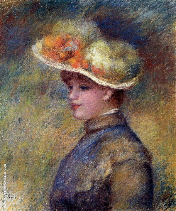 Young Woman Wearing a Hat By Pierre Auguste Renoir