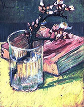Blossoming Almond Branch in a Glass with a Book By Vincent van Gogh