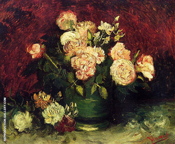 Bowl with Peonies and Roses 1886 By Vincent van Gogh