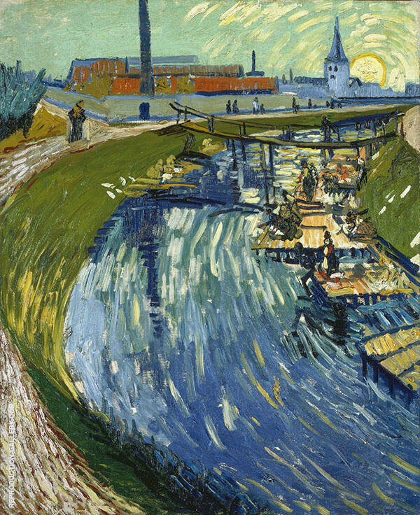 Canal with Women Washing Painting By Vincent van Gogh
