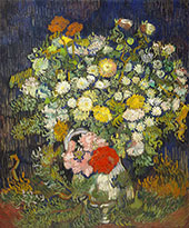 Chrysanthemums and Wild Flowers in a Vase By Vincent van Gogh