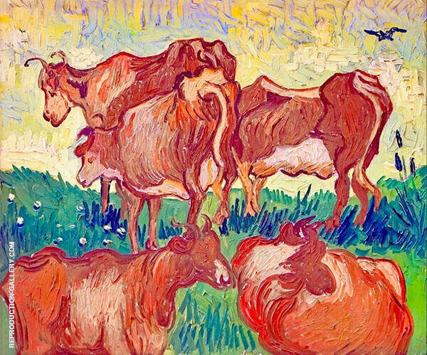 Cows 1890 By Vincent van Gogh
