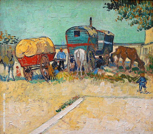 Encampment of Gypsies with Caravans By Vincent van Gogh
