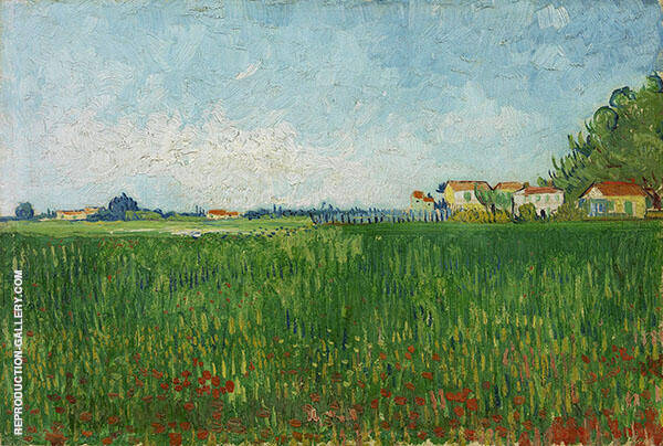 Farmhouses in a Wheat Field near Arles By Vincent van Gogh