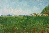Farmhouses in a Wheat Field near Arles By Vincent van Gogh