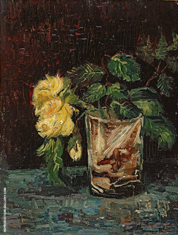 Glass with Roses By Vincent van Gogh
