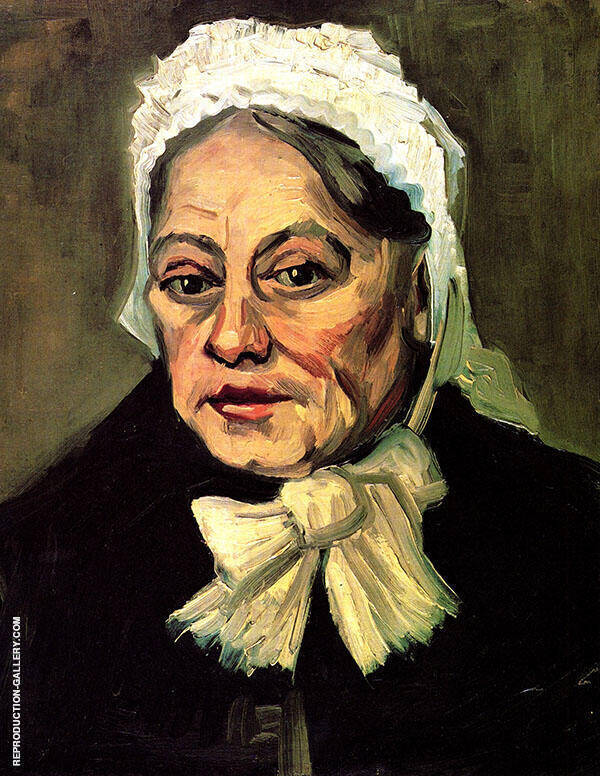 Head of an Old Woman with White Cap By Vincent van Gogh