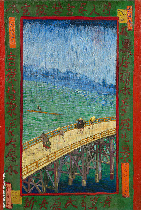 Japonaiserie Bridge in the Rain By Vincent van Gogh
