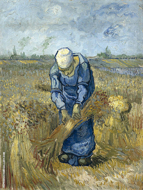 Peasant Woman Binding Sheaves By Vincent van Gogh