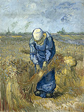 Peasant Woman Binding Sheaves By Vincent van Gogh