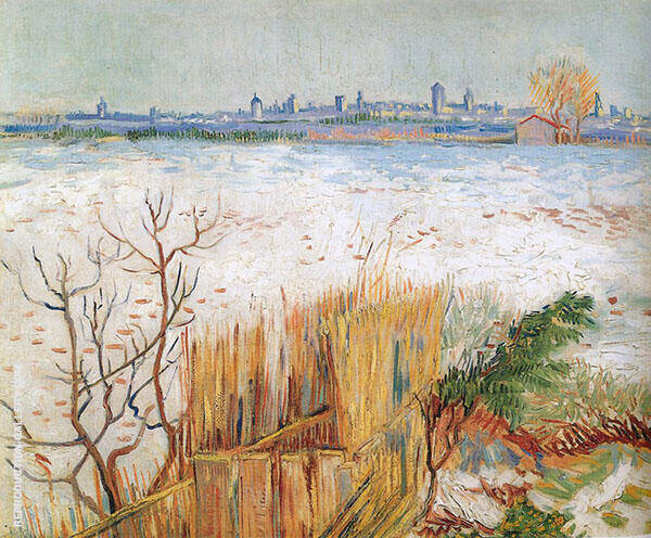 Snowy landscape with Arles in the background 1888 Painting By ...