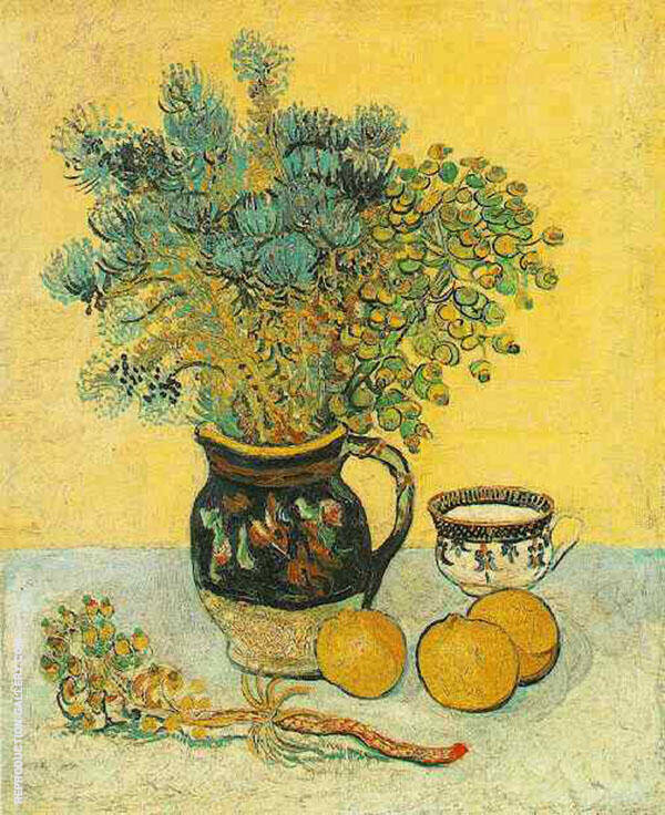 Still Life Majolica Jug with Wildflowers By Vincent van Gogh