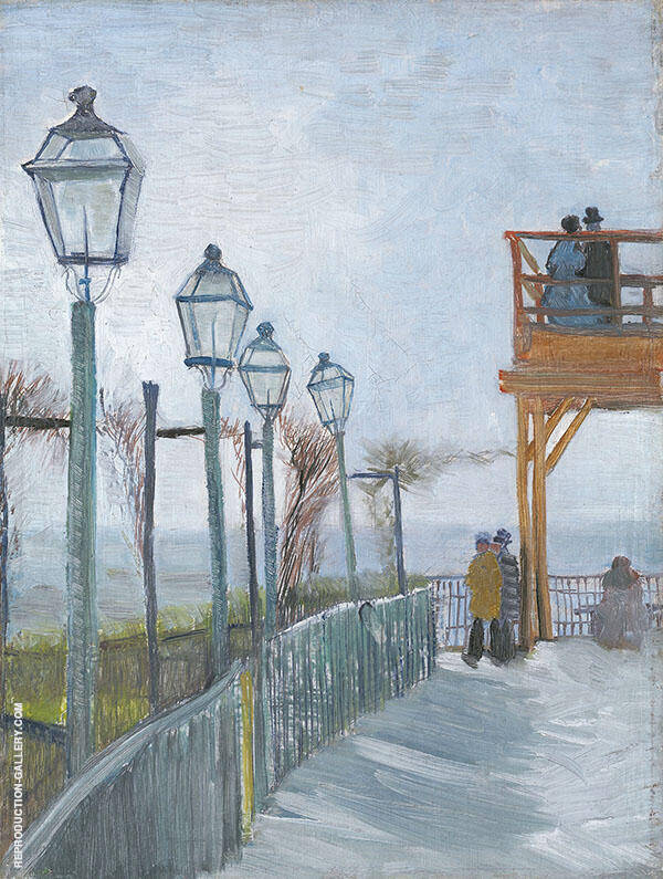 Terrace and Observation Deck at The Moulin de Blute Fin Montmartre 1887 Painting By ...