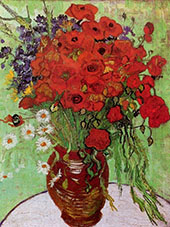 Vase with Red Poppies and Daisies 1890 By Vincent van Gogh