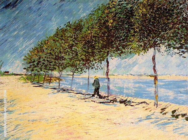 Walk Along the Banks of the Seine Near Asnieres By Vincent van Gogh