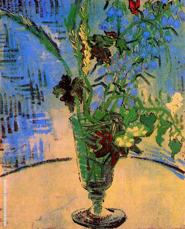 Paintings Still Life Glass with Wild Flowers By Vincent van Gogh