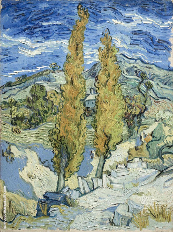 Two Poplars on a Road Through The Hills By Vincent van Gogh