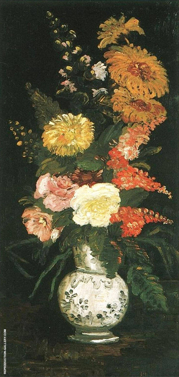 Vase with Asters Salvia and Other Flowers By Vincent van Gogh