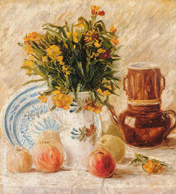 Vase with Flowers Coffee Pot and Fruit By Vincent van Gogh