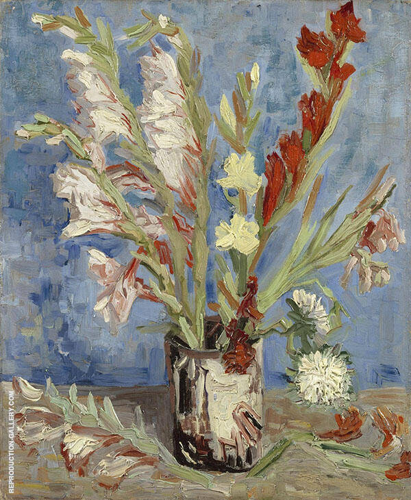Vase with Gladioli By Vincent van Gogh