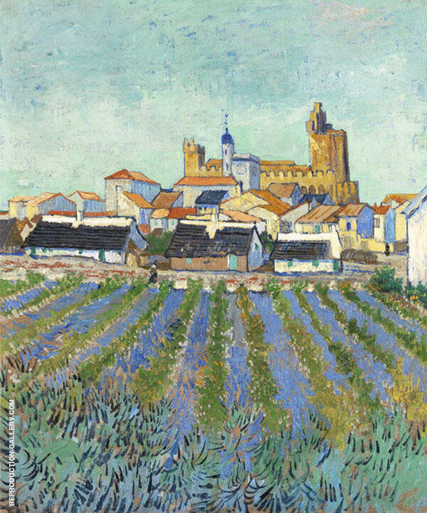 View of Saintes Maries 1888 By Vincent van Gogh