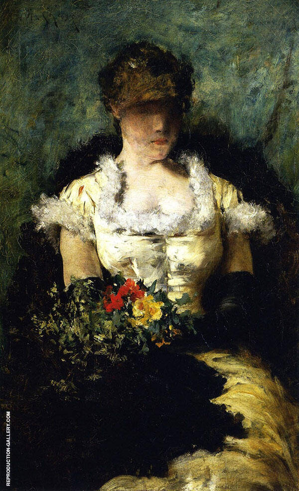 Woman Holding a Bouquet of Flowers By William Merritt Chase
