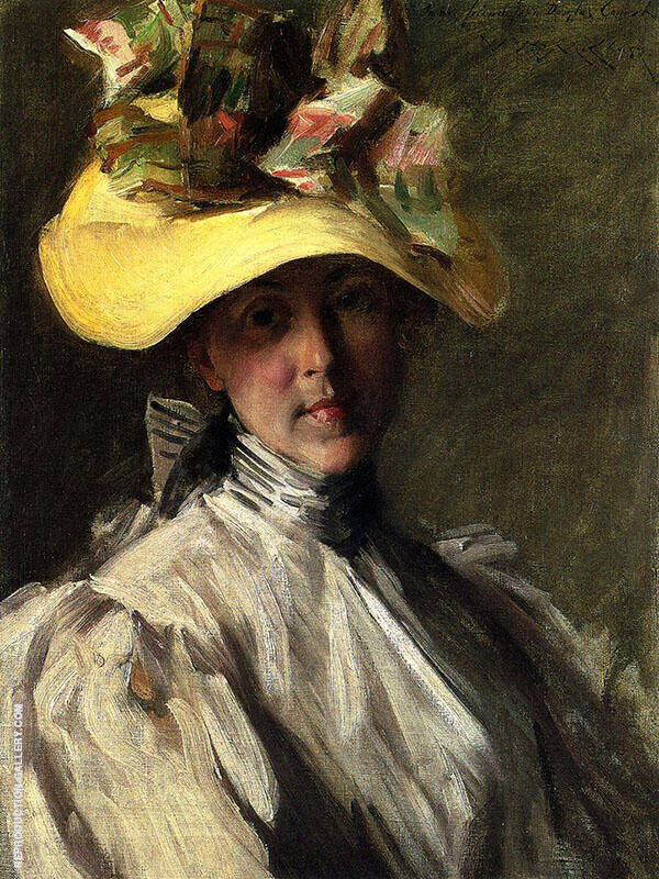 Woman with a Large Hat By William Merritt Chase
