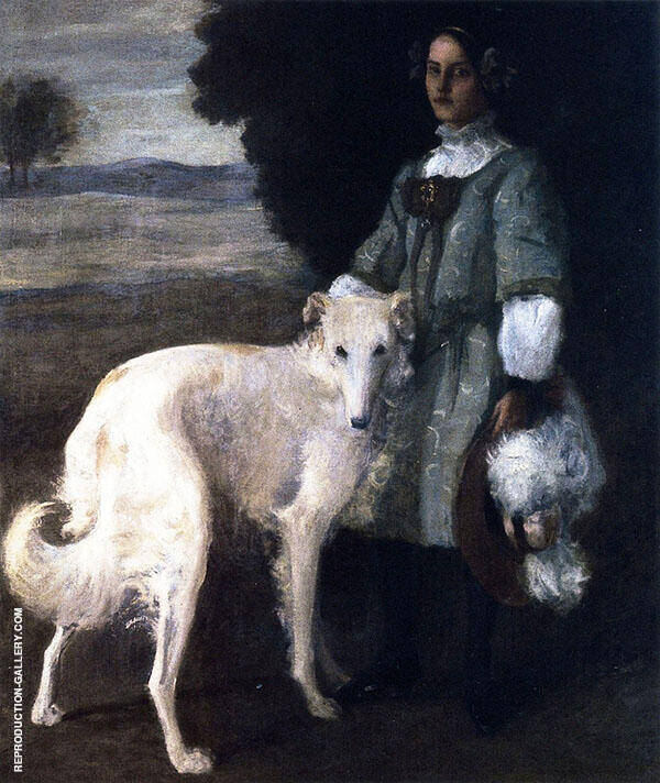 Alice with Wolfhound By William Merritt Chase