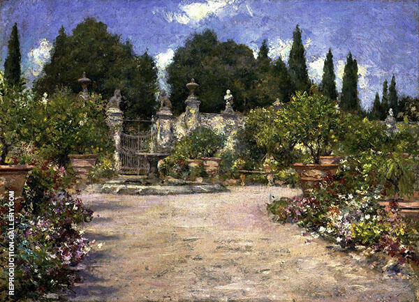 An Italian Garden Painting By William Merritt Chase - Reproduction Gallery