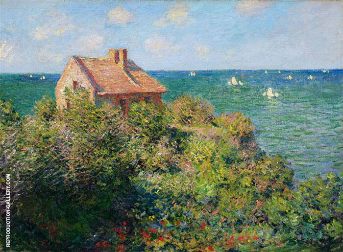 Fisherman's Cottage on the Cliffs at Varengville 1882 By Claude Monet
