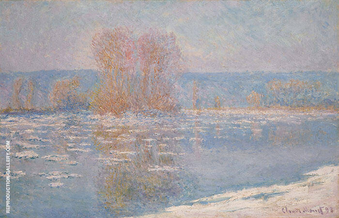 Floes at Bennecourt 1893 By Claude Monet