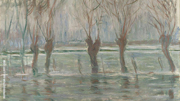 Flood Waters at Giverny c1896 By Claude Monet