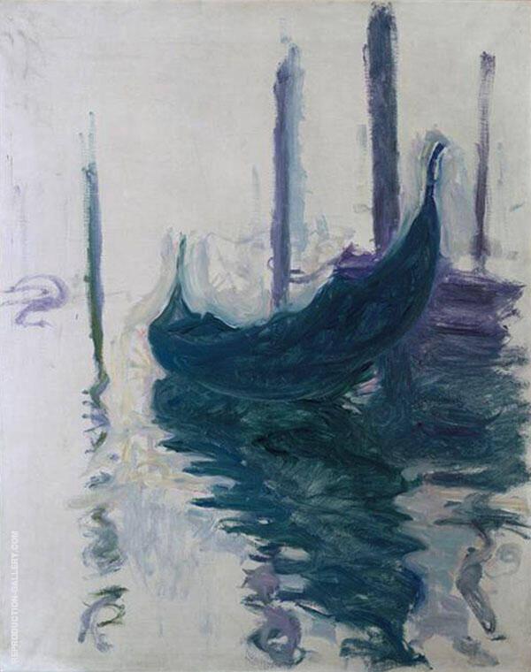 Gondola in Venice 1908 By Claude Monet