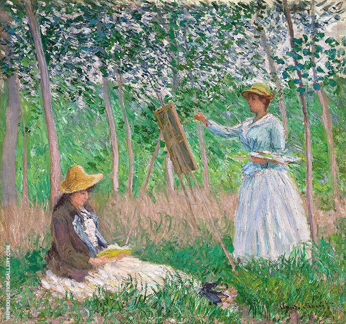 Suzanne Reading and Blanche Painting by the Marsh Giverny 1887 By Claude Monet