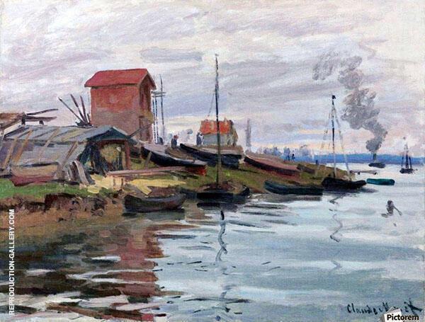 The Seine at Le Petit Gennevilliers By Claude Monet