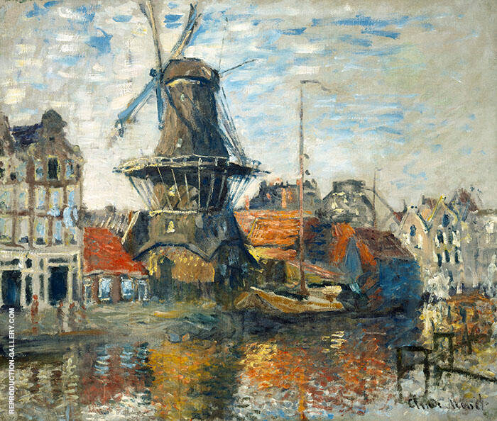 The Windmill Onbekende Canal Amsterdam 1874 By Claude Monet