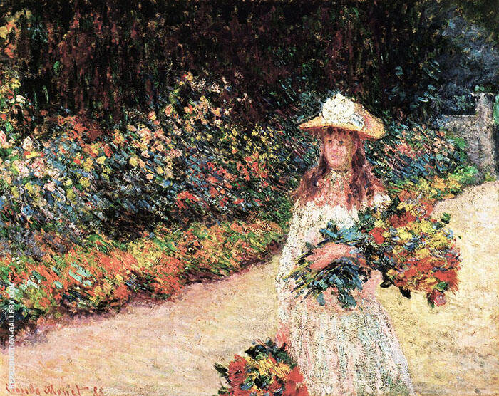 Young Girl in the Garden Giverny 1888 By Claude Monet