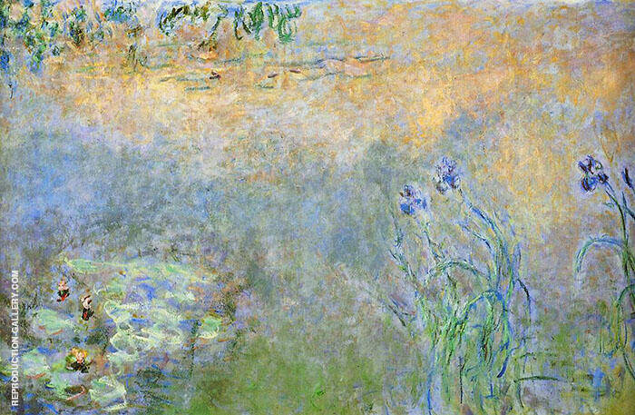 Water Lily Pond Irises c1920 By Claude Monet