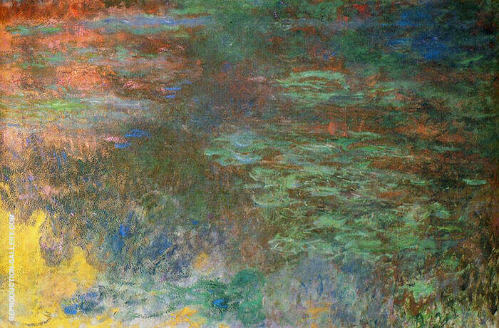Water Lily Pond Evening 1920 - detail 1 By Claude Monet